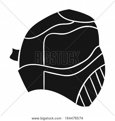 Paintball mask icon in black design isolated on white background. Paintball symbol stock vector illustration.