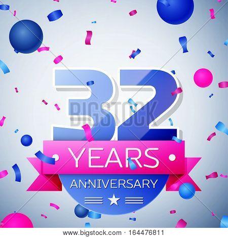 Thirty two years anniversary celebration on grey background. Anniversary ribbon