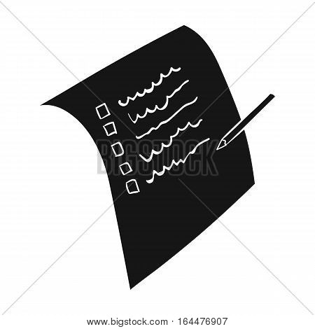Shopping list icon in black design isolated on white background. Supermarket symbol stock vector illustration.