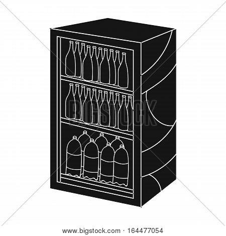 Fridge with drinks icon in black design isolated on white background. Supermarket symbol stock vector illustration.