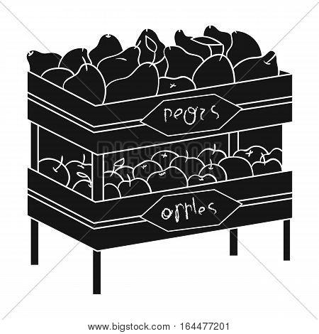 Raw food lying on rack shelves icon in black design isolated on white background. Supermarket symbol stock vector illustration.
