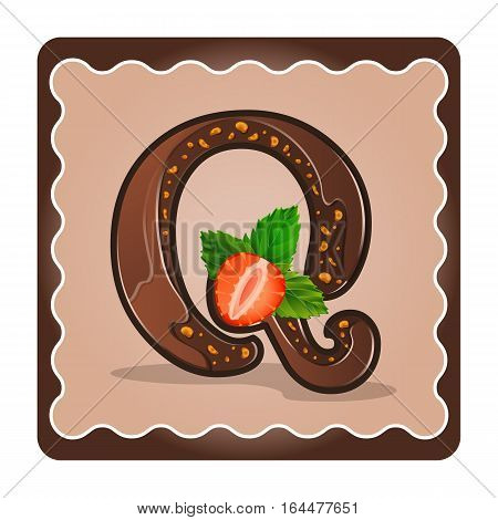 Cards for children for learning the alphabet. Letter q as chocolate in the form of candies and cakes . Vector Illustration