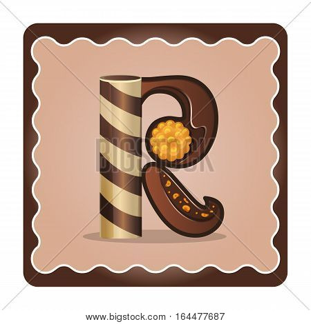 Cards for children for learning the alphabet. Letter r as chocolate in the form of candies and cakes . Vector Illustration