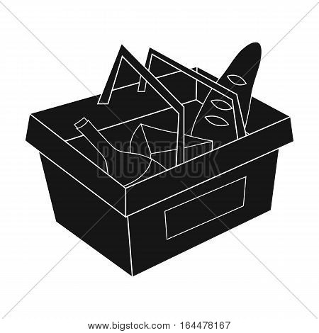 Shopping basket full of groceries icon in black design isolated on white background. Supermarket symbol stock vector illustration.