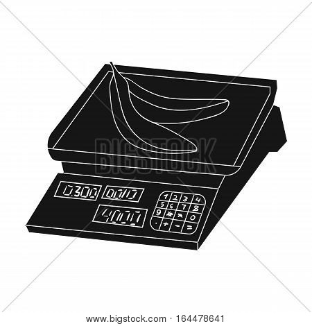 Store scale icon in black design isolated on white background. Supermarket symbol stock vector illustration.
