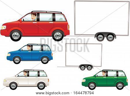 Various illustrations of a typical small automobile and hauling trailer. Blank space for your own message.