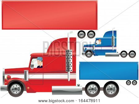 Two illustrations of a typical big rig truck - one in red, one in blue. Plenty of blank space on the trailers for your own message.