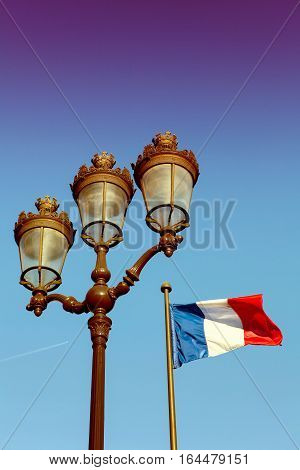 Parisian Lantern And French Flag