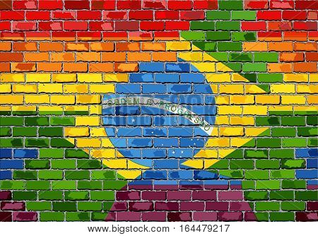 Brick Wall Brazil and Gay flags with effect - 3D Illustration,