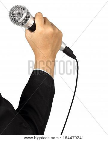 Businesswoman hand holding a microphone isolated on white background clipping path
