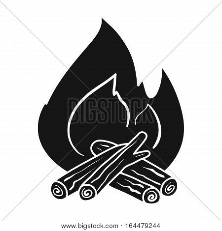Campfire icon in black design isolated on white background. Fishing symbol stock vector illustration.