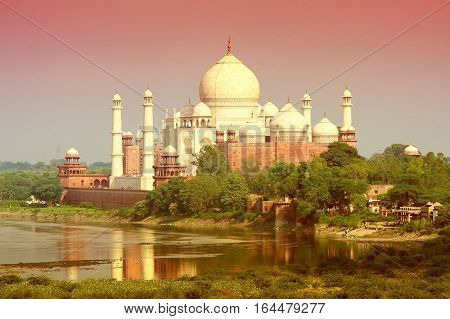 Taj Mahal in Agra India, a famous landmark
