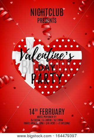 Red poster for Valentine's Day party. Beautiful poster with white gift box in the form of heart. Vector illustration with serpentine and confetti. Invitation to nightclub.
