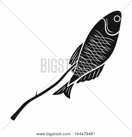 Fried fish icon in black design isolated on white background. Fishing symbol stock vector illustration.