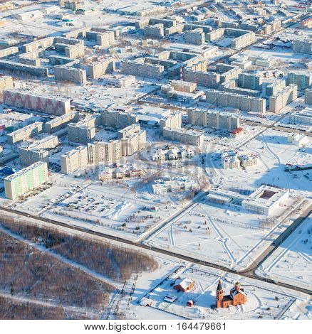 Aerial view of the town of Langepas Tyumen region Russia. This is the center of the oil industry in Russia.