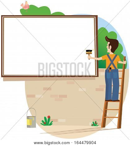 A workman posting a new advert on a billboard. Plenty of blank space for your own message.