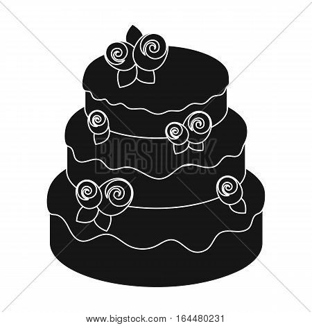 Cake with roses icon in black design isolated on white background. Cakes symbol stock vector illustration.