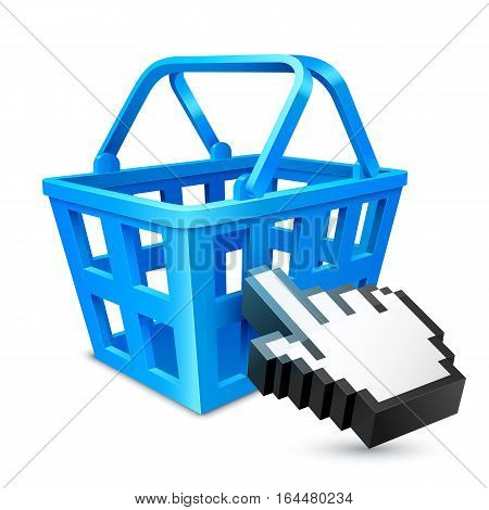 Blue shopping cart and computer hand cursor. Online shopping or e-commerce concept