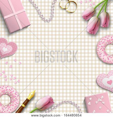 Romantic background with pink objects on beige gingham pattern, inspired by flat lay style, vector illustration, eps 10 with transparency and gradient meshes