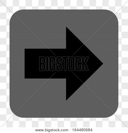 Arrow Right interface toolbar button. Vector icon style is a flat symbol on a rounded square button black and gray colors chess transparent background.