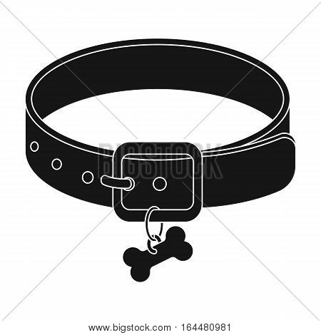 Dog collar icon in black design isolated on white background. Veterinary clinic symbol stock vector illustration.