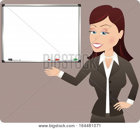 A young business woman gesturing to a blank whiteboard.