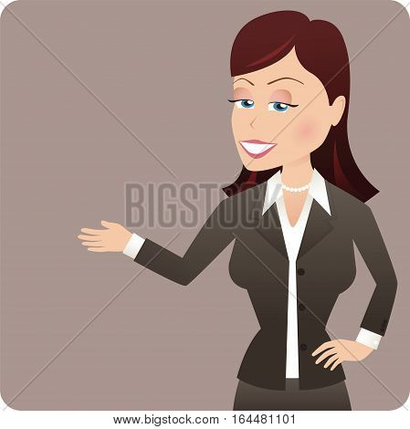 An illustration of a young business woman gesturing, on a plain background.