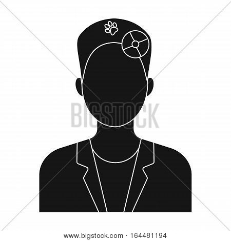 Pet doctor icon in black design isolated on white background. Veterinary clinic symbol stock vector illustration.