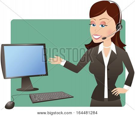A young business woman on her telephone headset and gesturing at her computer screen. Monitor is blank for your own message.