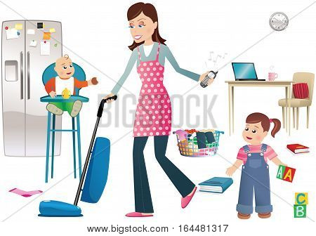 An illustration of a young mother vacuuming around a busy home.