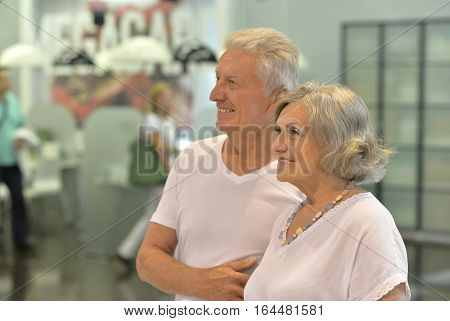 Portrait of a beautiful elderly couple , close-up