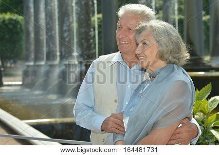 Portrait of a nice senior couple walking in park