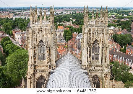York Minster is a cathedral in York England one of the leading examples of english gothic architecture. Panorama of York from the roof of York Minster.