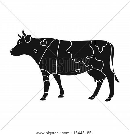 Sick cow with bandage on a leg icon in black design isolated on white background. Veterinary clinic symbol stock vector illustration.