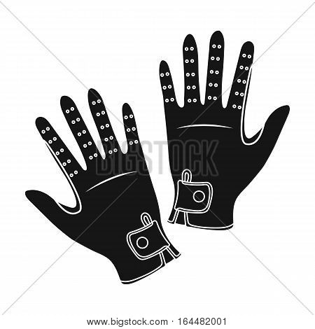 Jockey's gloves icon in black design isolated on white background. Hippodrome and horse symbol stock vector illustration.