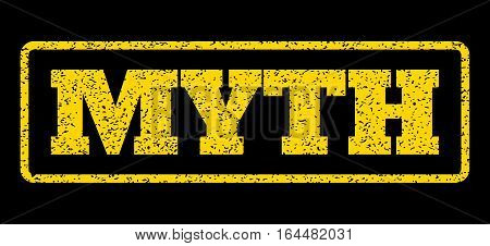 Yellow rubber seal stamp with Myth text. Vector message inside rounded rectangular shape. Grunge design and unclean texture for watermark labels. Horisontal sticker on a blue background.