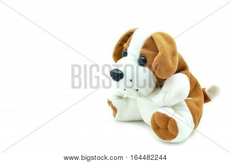 Cute beagle puppy doll sitting on white background.