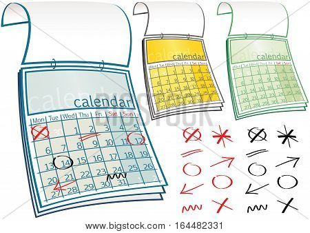 Three different calendars and various 'marker pen' symbols. Calendar is non date specific so can be used any year. Marker pen symbols on the blue calendar are on a separate layer, and can be moved to suit your needs.