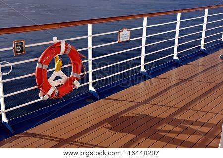 Cruise ship railing and life buoy