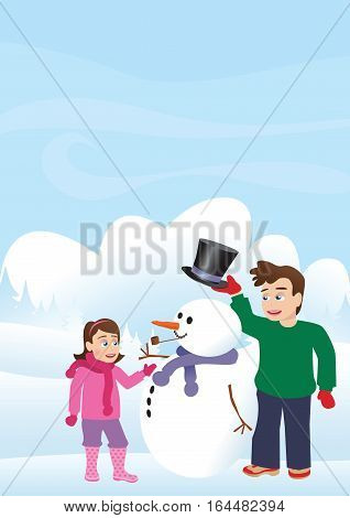 Two children outdoors on a snowy day building a snowman.
