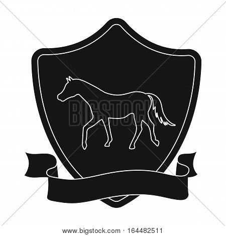 Equestrian blaze icon in black design isolated on white background. Hippodrome and horse symbol stock vector illustration.