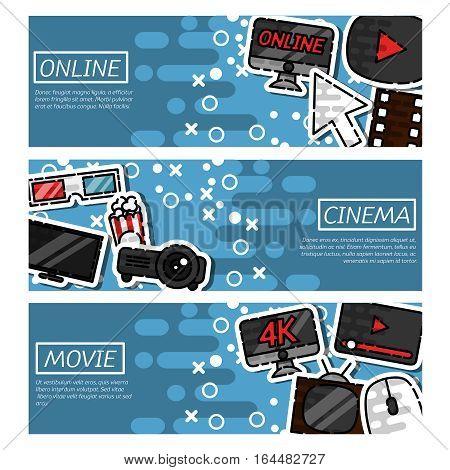 Set of Horizontal Banners online cinema. Vector illustration, EPS 10