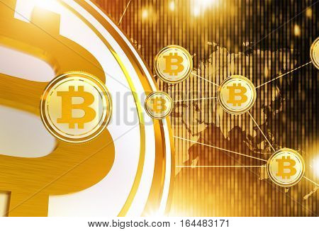 Bitcoin Trading Network Concept Illustration with 3D Rendered Elements. Cryptocurrency Trade.