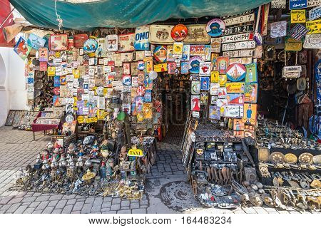 Marrakesh Morocco - December 8 2016: Flea market in Marrakesh Morocco. The traditional Berber market is one of the most important attractions of the city.