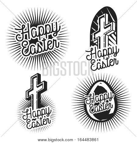 Happy Easter Design Collection - A set of vintage style Easter Label Designs on light background