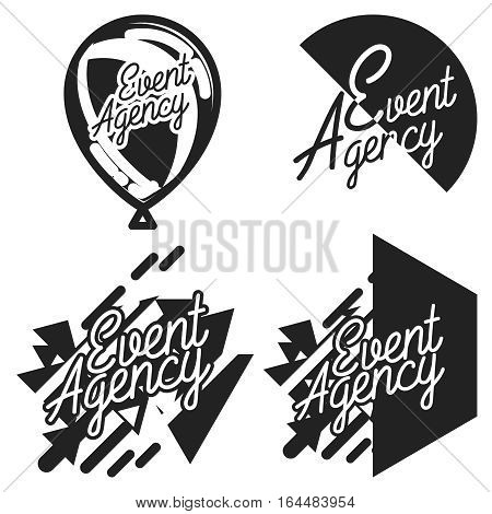 Vintage agency emblems of events and special occasions organization, catering service agency, marketing agency. Flat design graphic event marketing concept, elements.