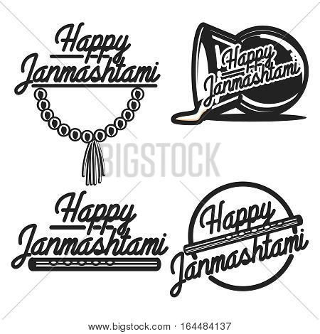 Janmashtami labels, badges and design elements- celebration of the birth of the Hindu deity Krishna.