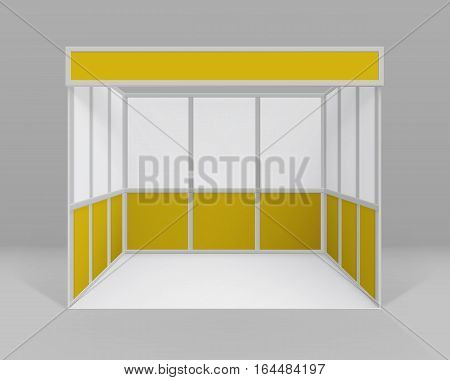 Vector White Yellow Blank Indoor Trade exhibition Booth Standard Stand for Presentation Isolated with Background