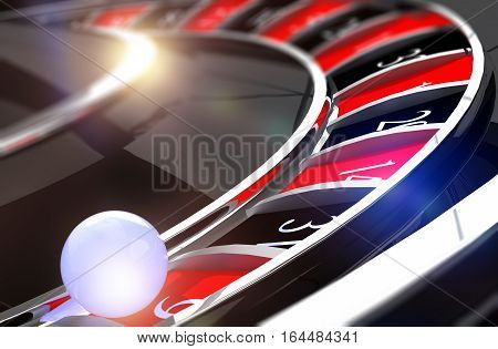 Closeup on Roulette Wheel White Ball. Roulette Game 3D Rendered Illustration.