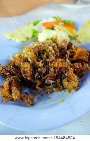 fried pork entrails with garlic Thai food